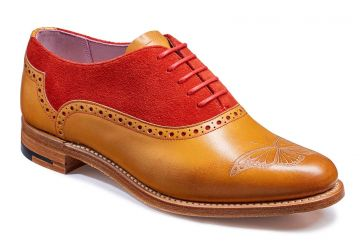 Barker Gwen - Cedar Calf/Red Suede - D - Medium - 3.5