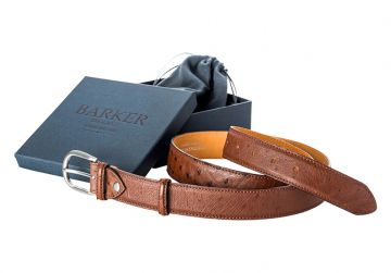 Barker Belt - Brown Ostrich/Plain