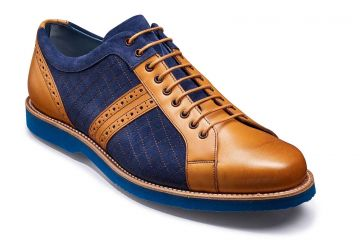 Barker Detroit - Cedar Calf/Navy Suede/Blue Sole - F - Medium - 6.5