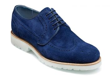 Barker Hawk - Navy Suede - F - Medium - 7
