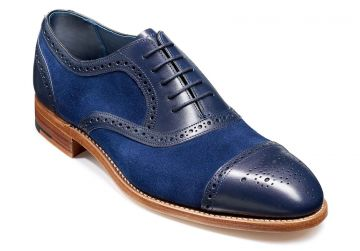 Barker Hursley - Blue Calf/Blue Suede - F - Medium - 10.5