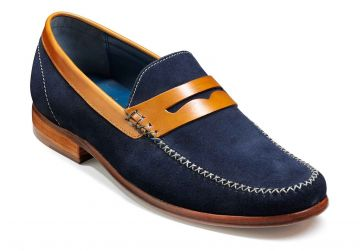 Barker William - Navy Suede/Cedar Collar - G - Wide - 8