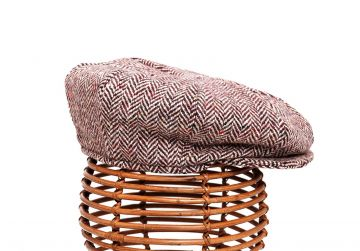 Hata Eight Panel Tweed Cap - Wine Herringbone