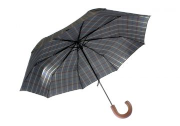 Rainham Telescopic Grey Check Umbrella