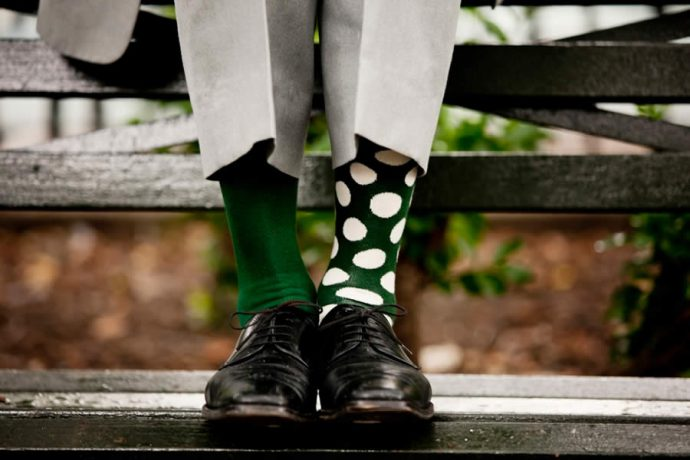 happy socks with green and white polka dots