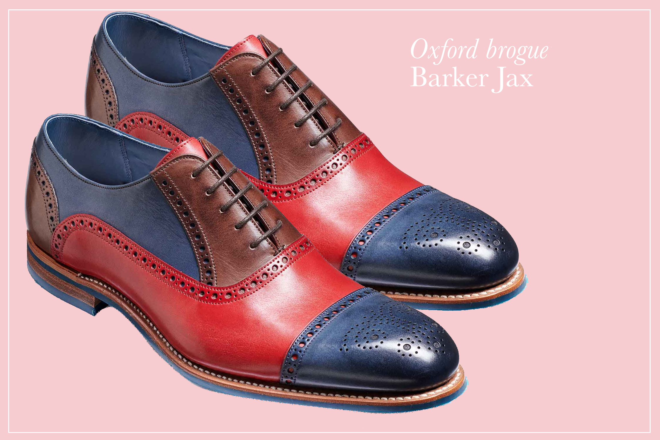 97748be9 Barker Jax is a twist on a classic semi brogue. Crafted using hand-painted  natural crust leather for a rich vibrant finish that is sure to make a  statement.